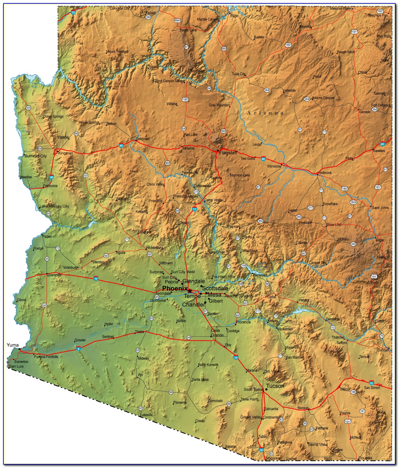 Topographic Map Of Flagstaff Arizona