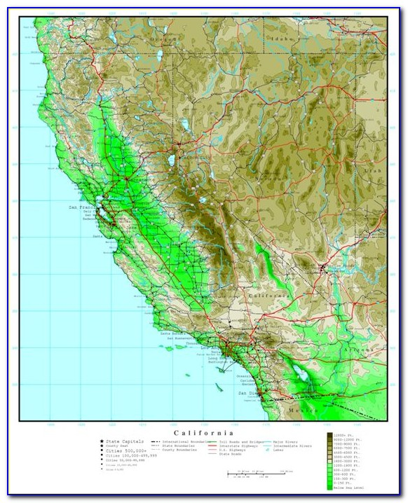 Topographical Map Of California