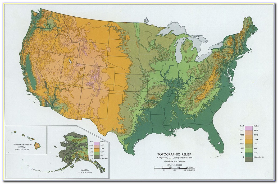 Topographical Map Of Eastern Usa