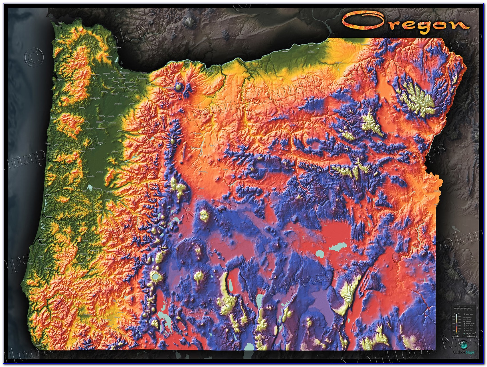 Topographical Map Of Oregon