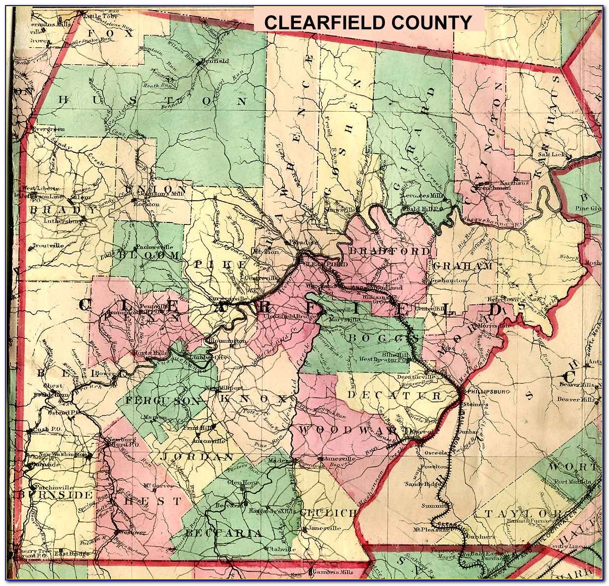 Township Map Of Clearfield County Pa