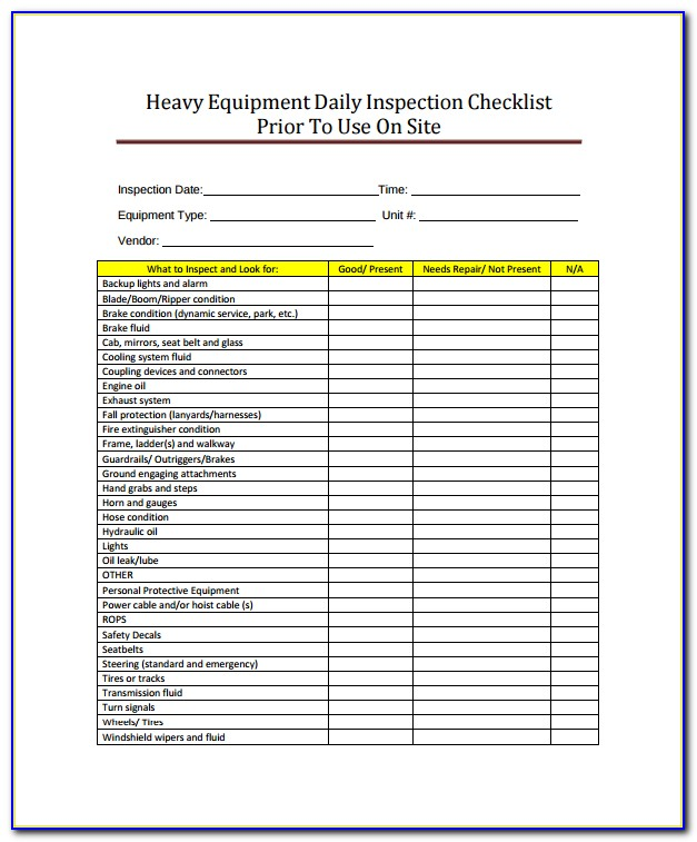 Tractor Inspection Form