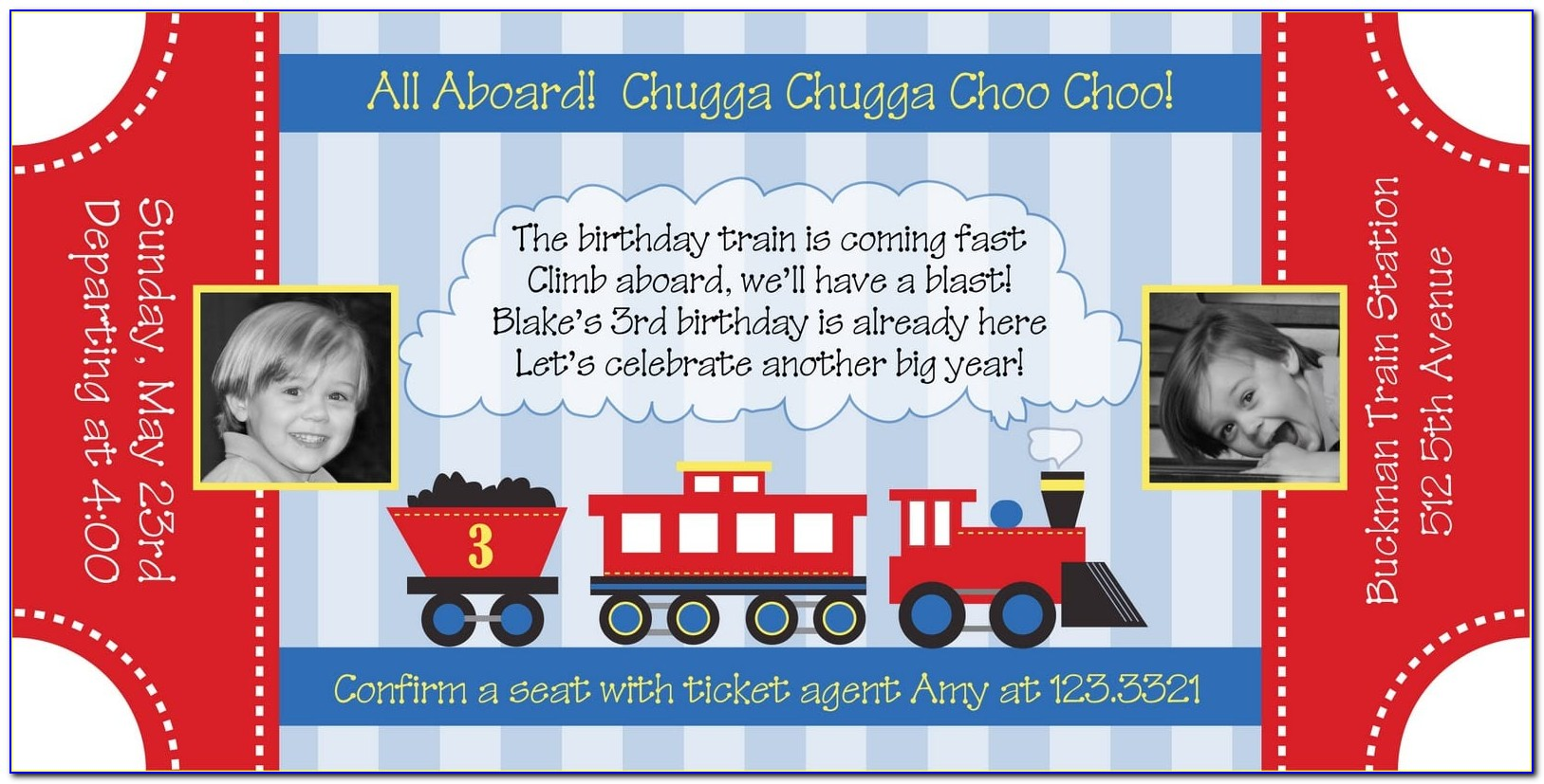 Train Birthday Invitation Template Free