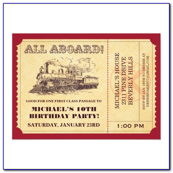 Train Ticket Invitation Template