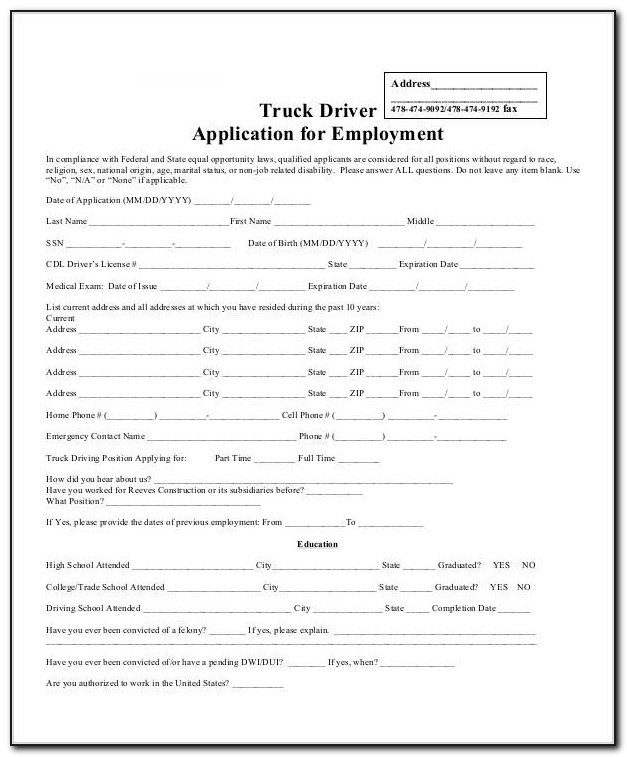Truck Driver Job Application Form