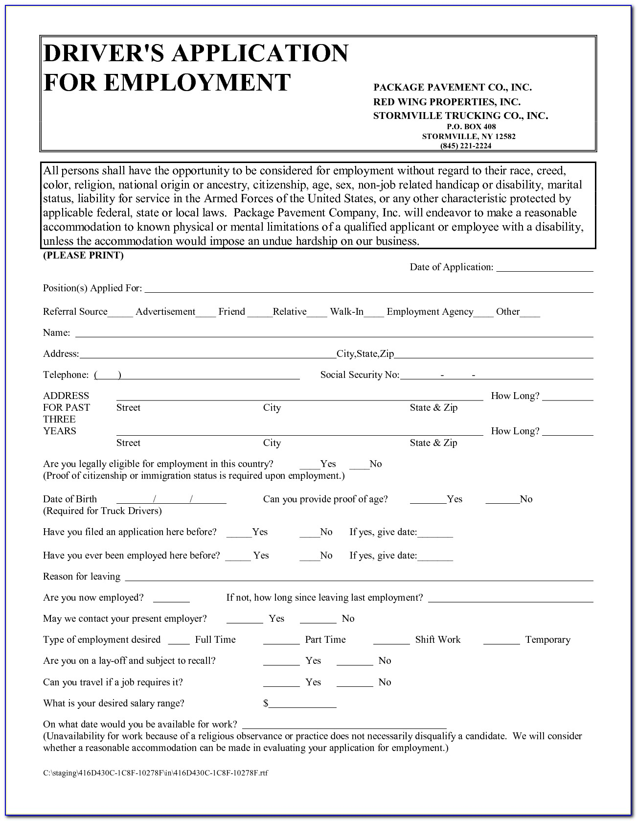 Truck Driver Job Application Pdf