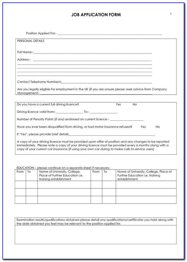 Truck Driving Job Application Template