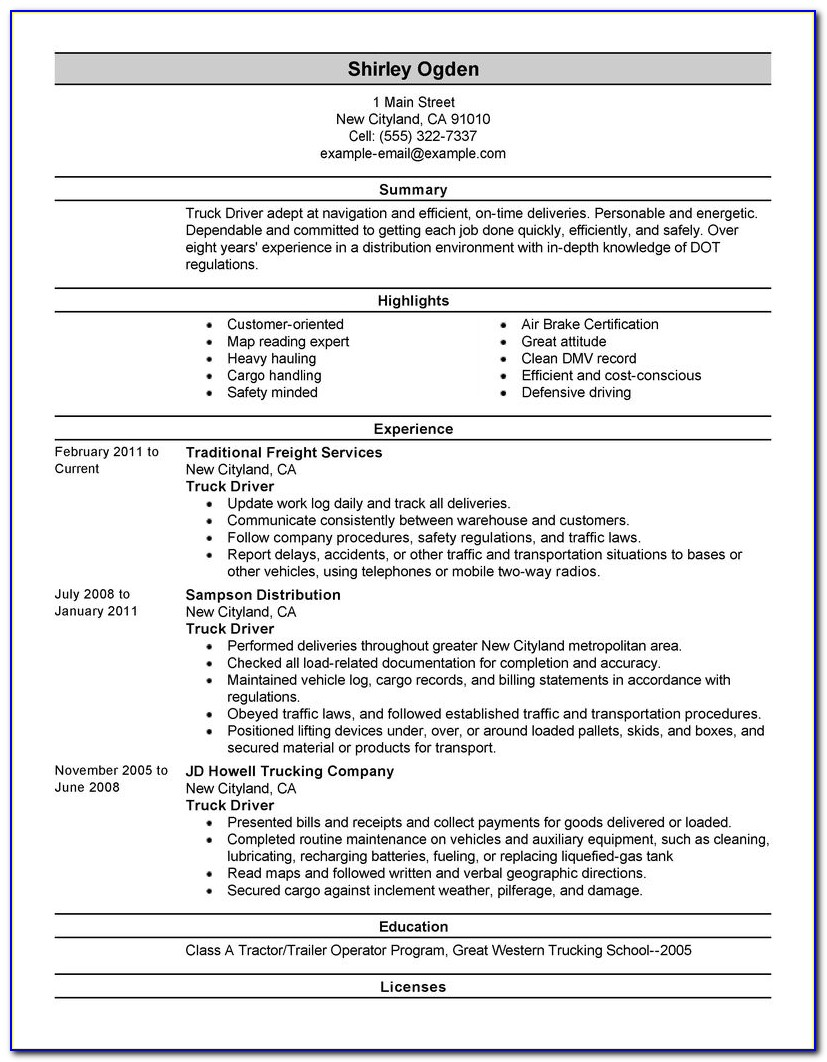 Truck Driving Resume Summary