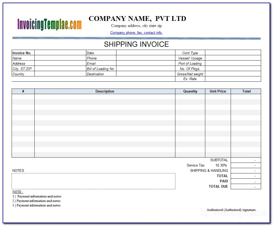 Trucking Invoice Template Excel