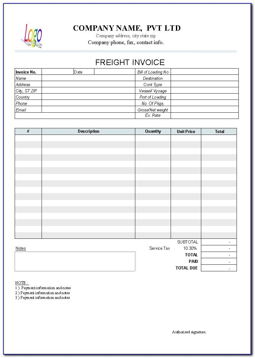 Trucking Invoice Template Free