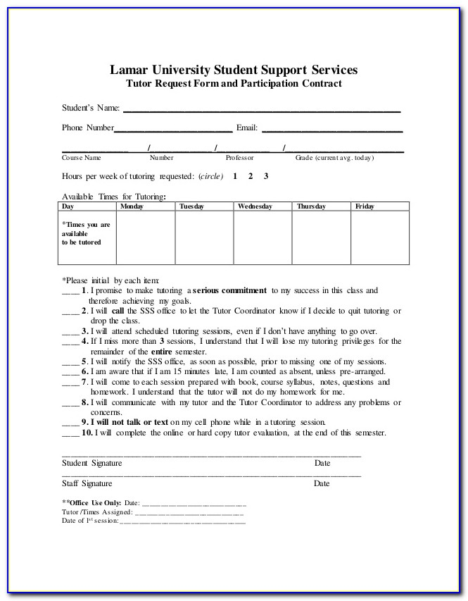 Tutoring Contract Template Free