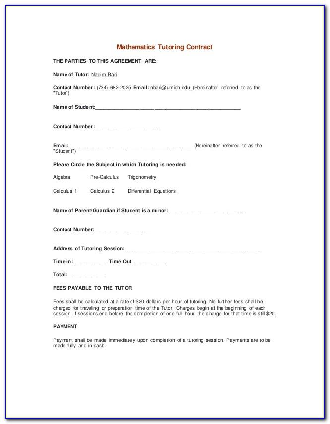 Tutoring Contract Template Pdf