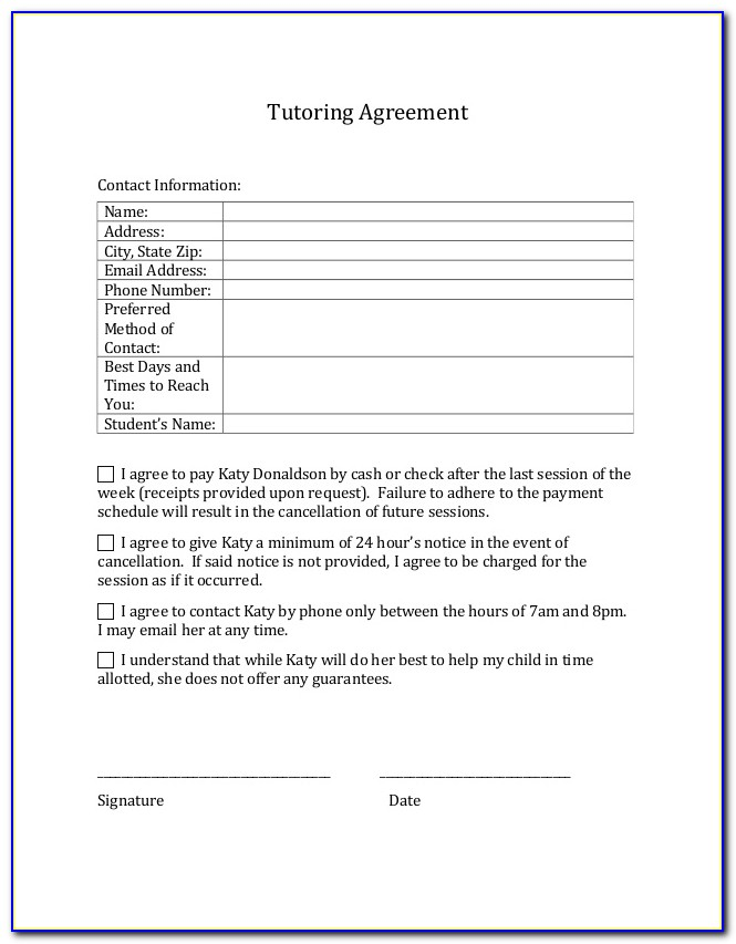 Tutoring Contract Template Word