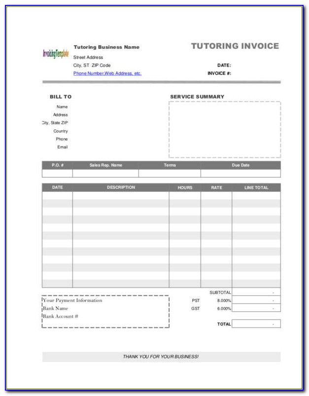 Tutoring Invoice Template Word