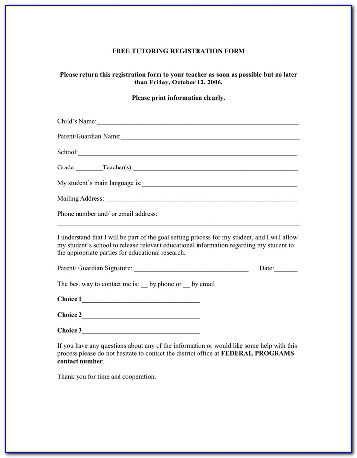 Tutoring Registration Form Template