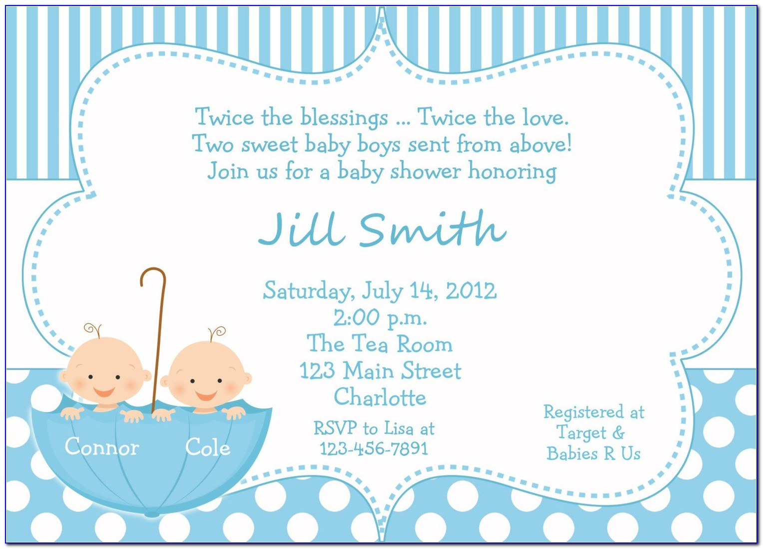 Twin Baby Shower Invitation Templates Free