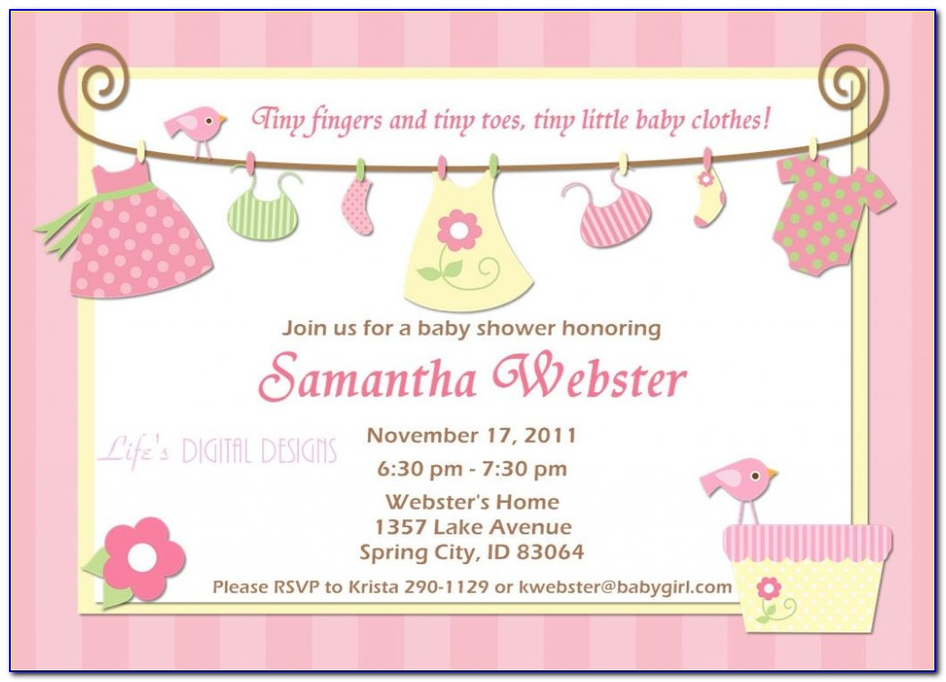 Twin Girl Baby Shower Invitation Templates