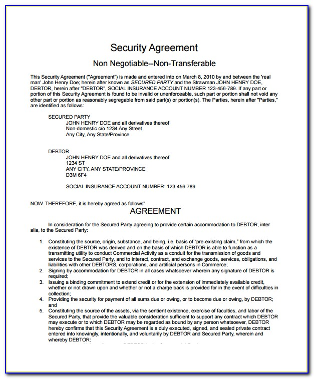 Ucc Security Agreement Form