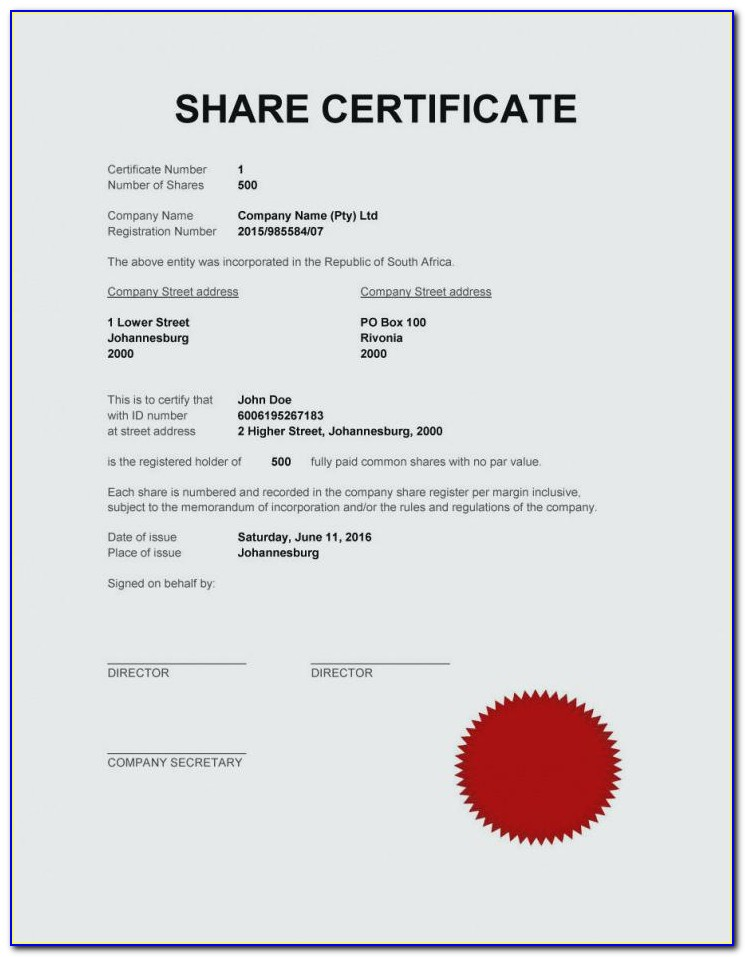 Uk Limited Company Share Certificate Template