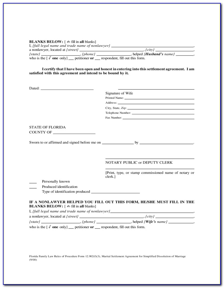 Uncontested Dissolution Of Marriage Florida Forms