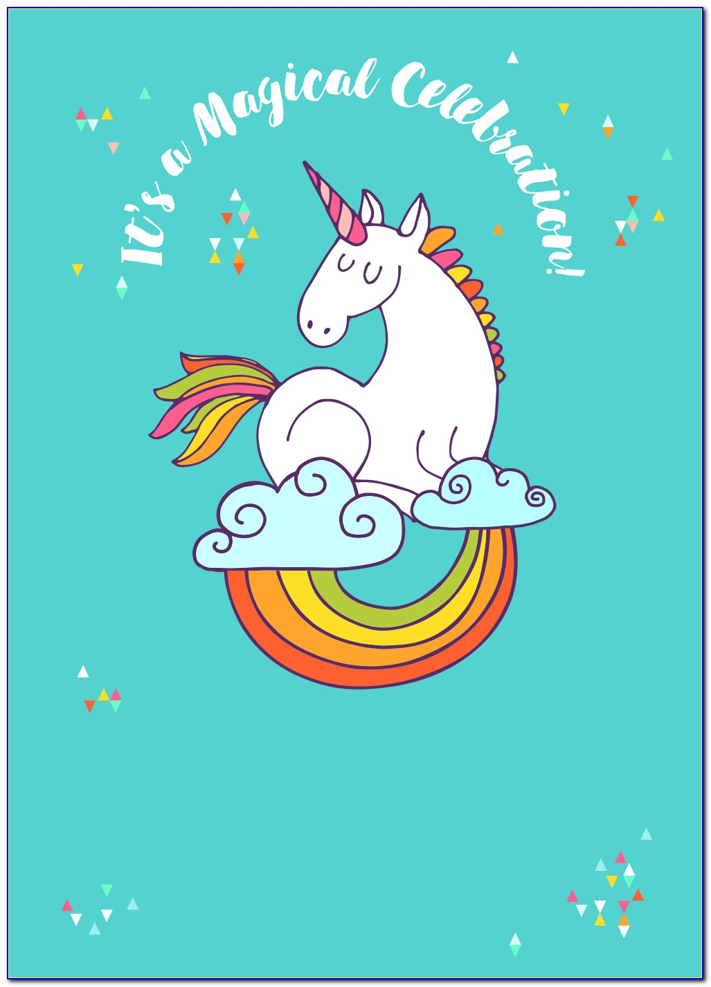 Unicorn Birthday Invitation Card Template