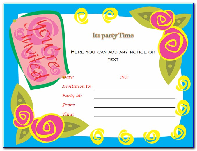 Unicorn Birthday Party Invitation Word Template