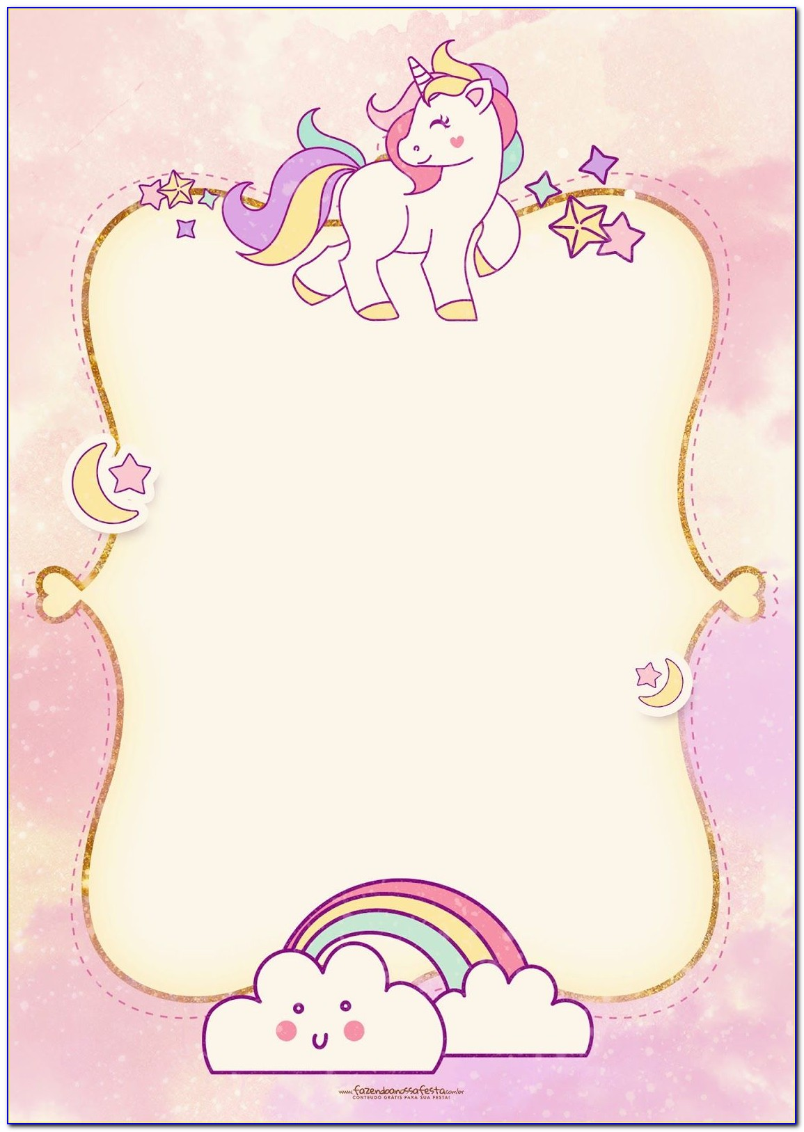 Unicorn Invitation Template Blank
