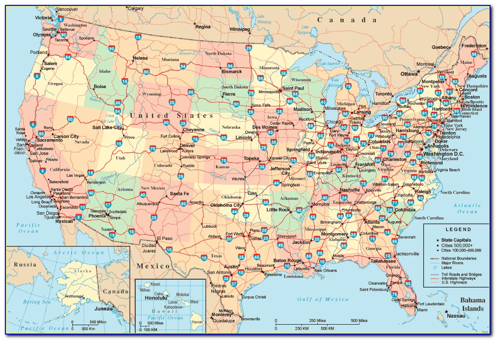 United States Highway Map Free