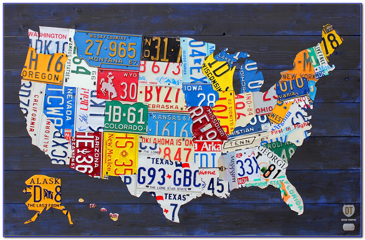 United States Map License Plates