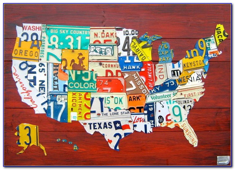 United States Map Made Of License Plates