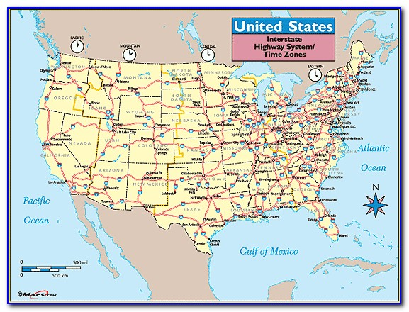 United States Map With Cities And Highways