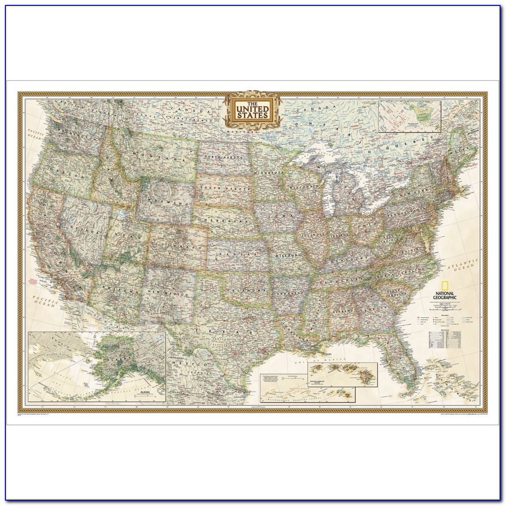 United States Wall Map Cork Board