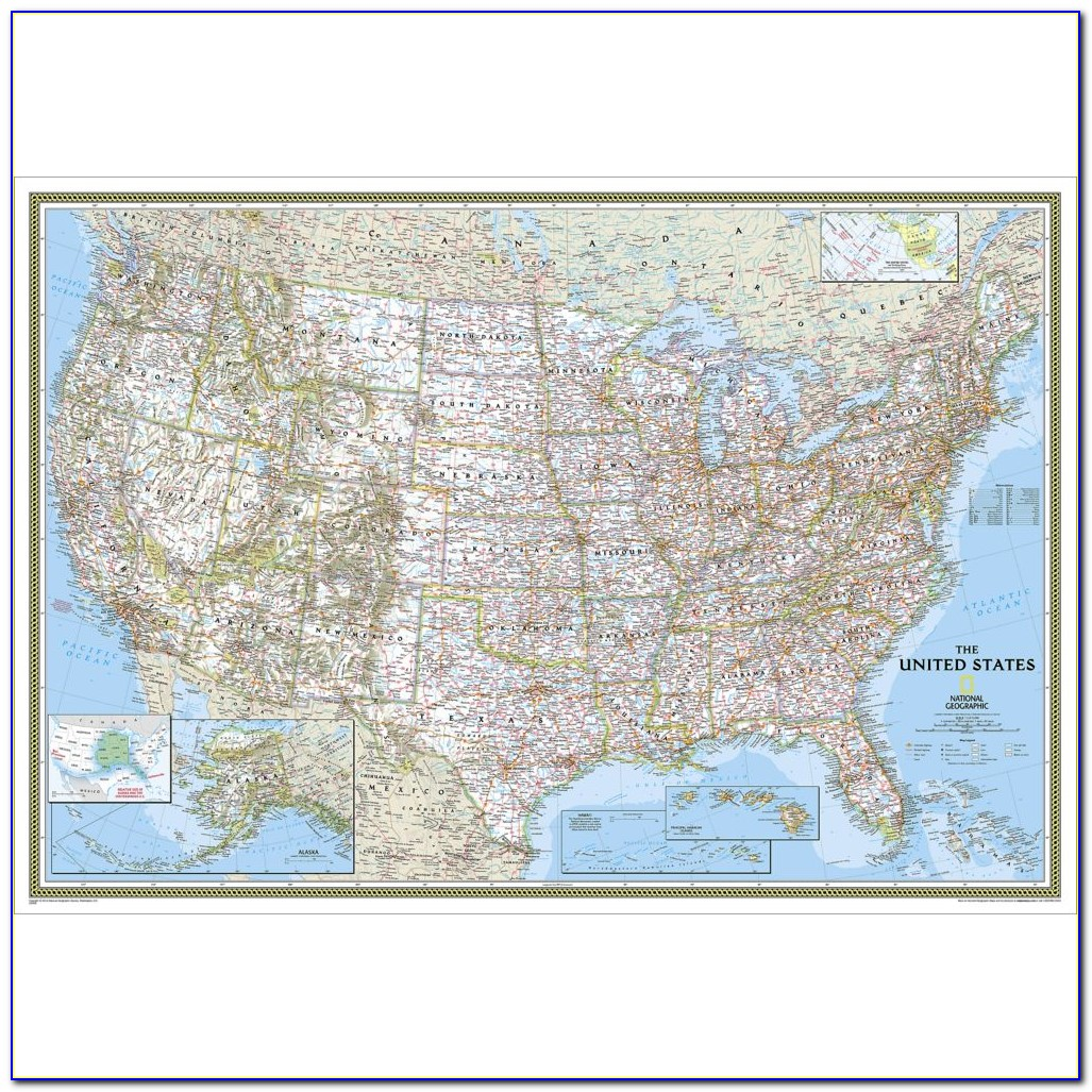 United States Wall Map Framed