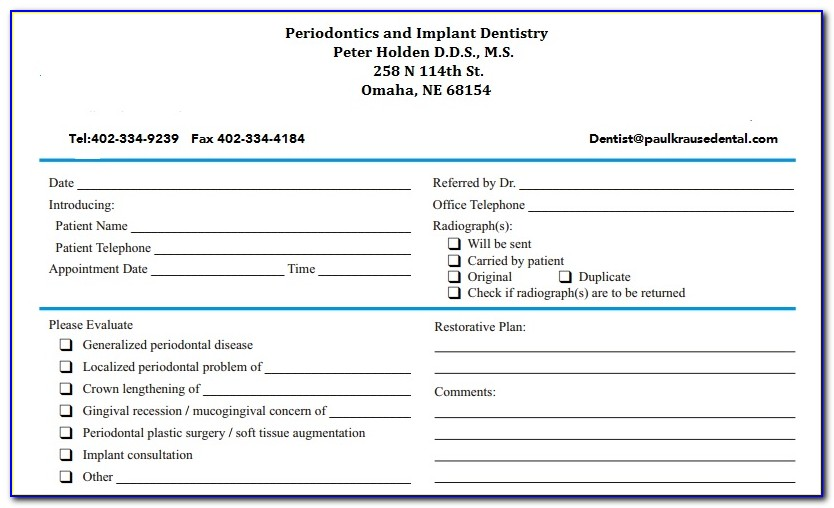 Universal Orthodontic Referral Form