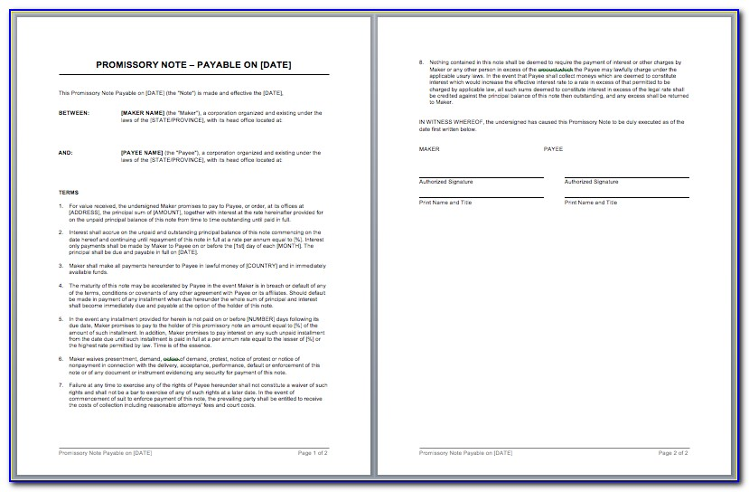 Unsecured Promissory Note Template Word