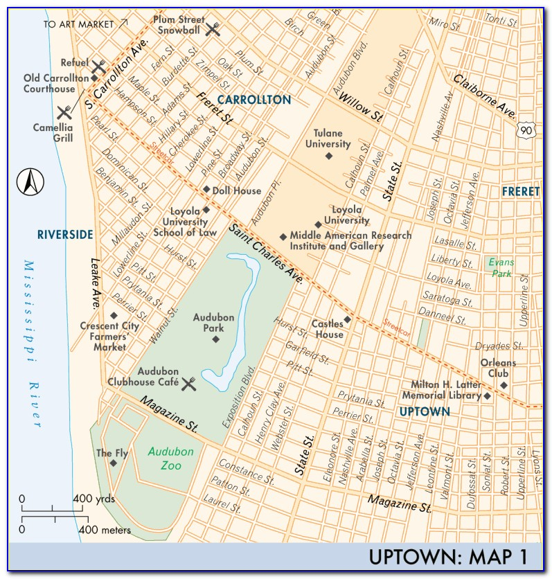 Uptown New Orleans Map