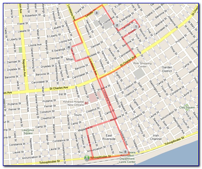 Uptown New Orleans Street Map