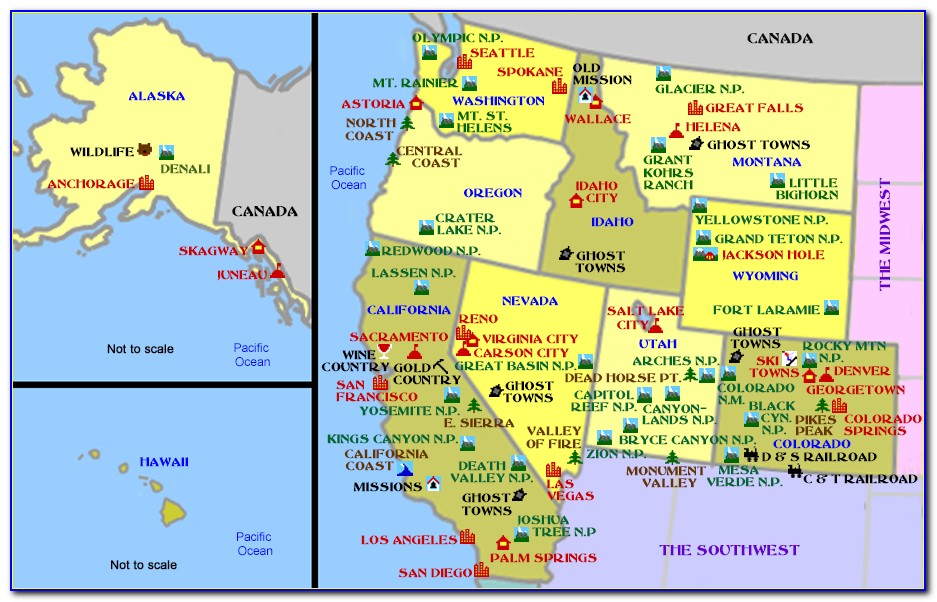 Usa West Coast Map With States And Cities