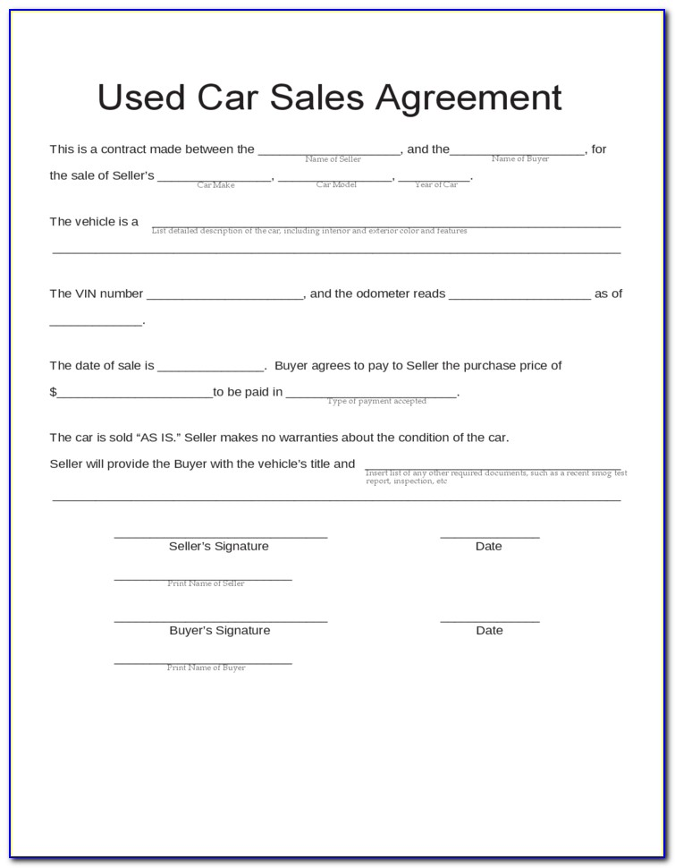 Used Car Sales Contract Template Free