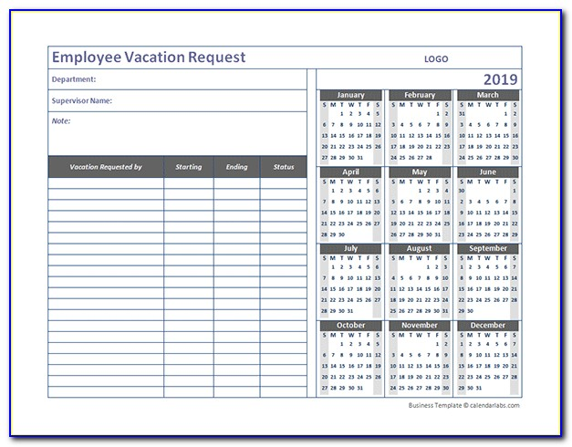 Vacation Tracker Template 2019