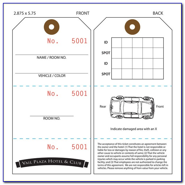 Valet Parking Tag Template