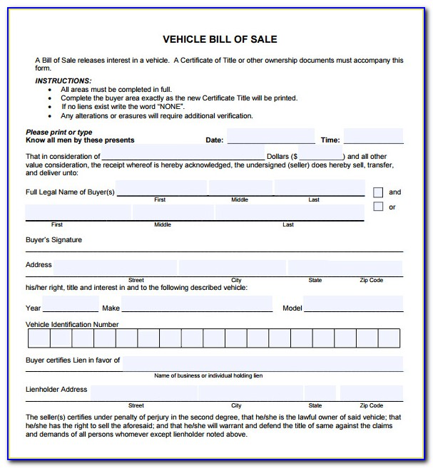Vehicle Bill Of Sale Template Fillable Pdf Florida
