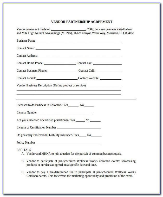 Vendor Partnership Agreement Template