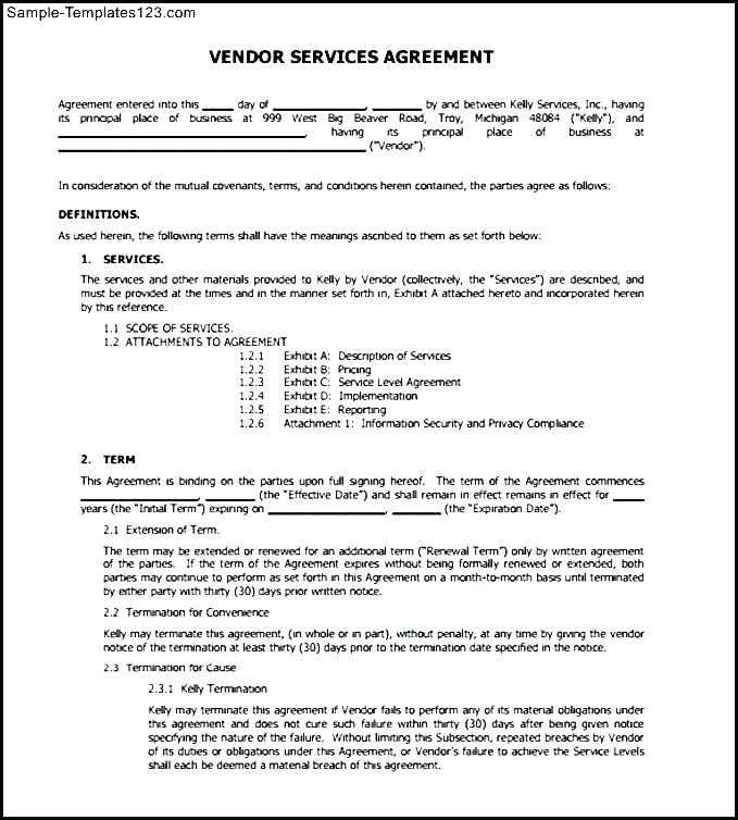 Vendor Service Level Agreement Template