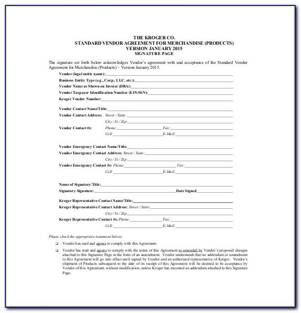Vendor Supply Agreement Template