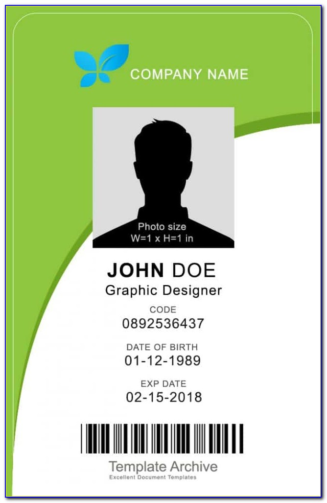 Vertical Id Card Template Word Free