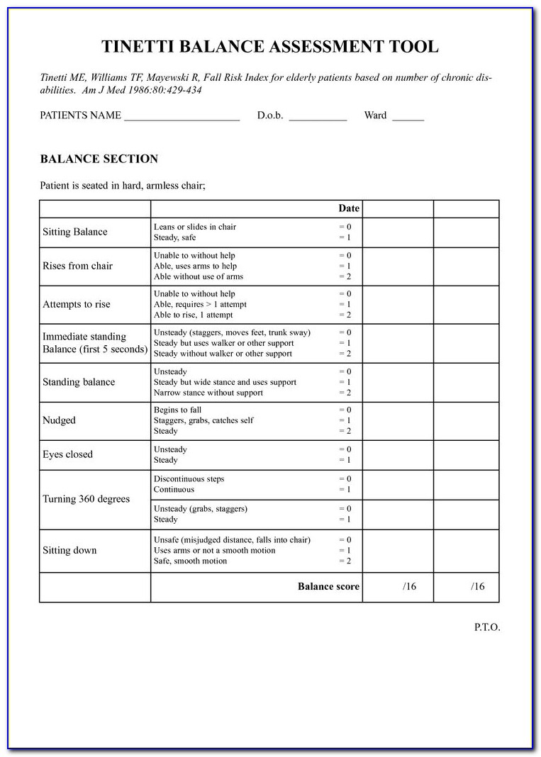 Vestibular Evaluation Physical Therapy Form