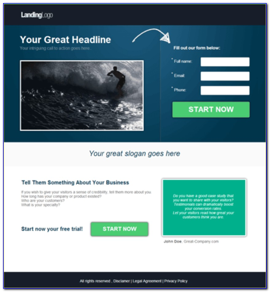Video Landing Page Template WordPress