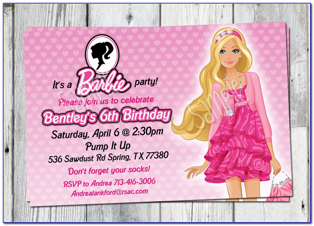 Vintage Barbie Invitation Template
