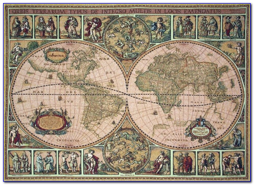 Vintage Map Tapestry Wall Decor